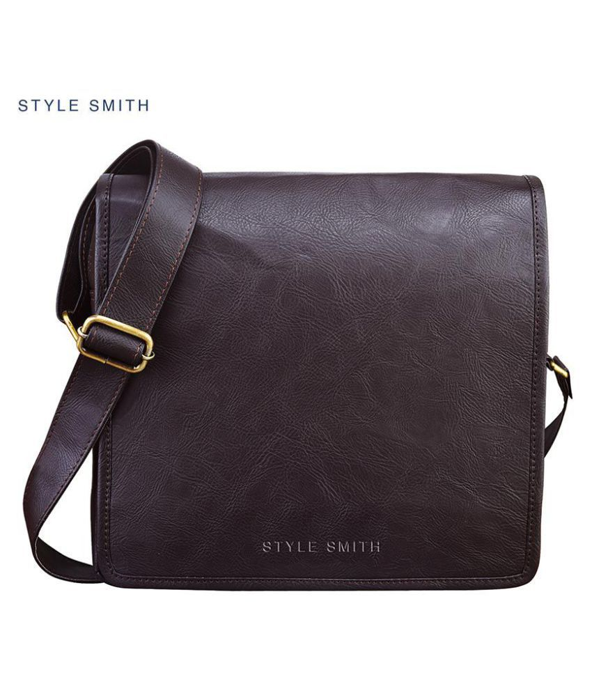 Style Smith Brown Fabric Casual Messenger Bag