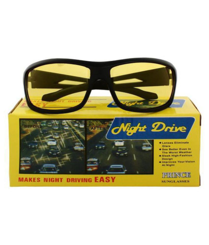 Dervin Yellow Lens Black Frame Night Vision Driving glasses for Men and Women  WITH YELLOW BOX PACKING