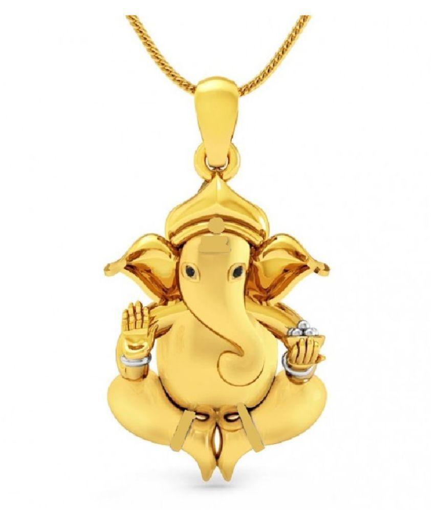 Ganesh Ji Pendant Natural Gold Plated Ganpati Pendant For Women & Men