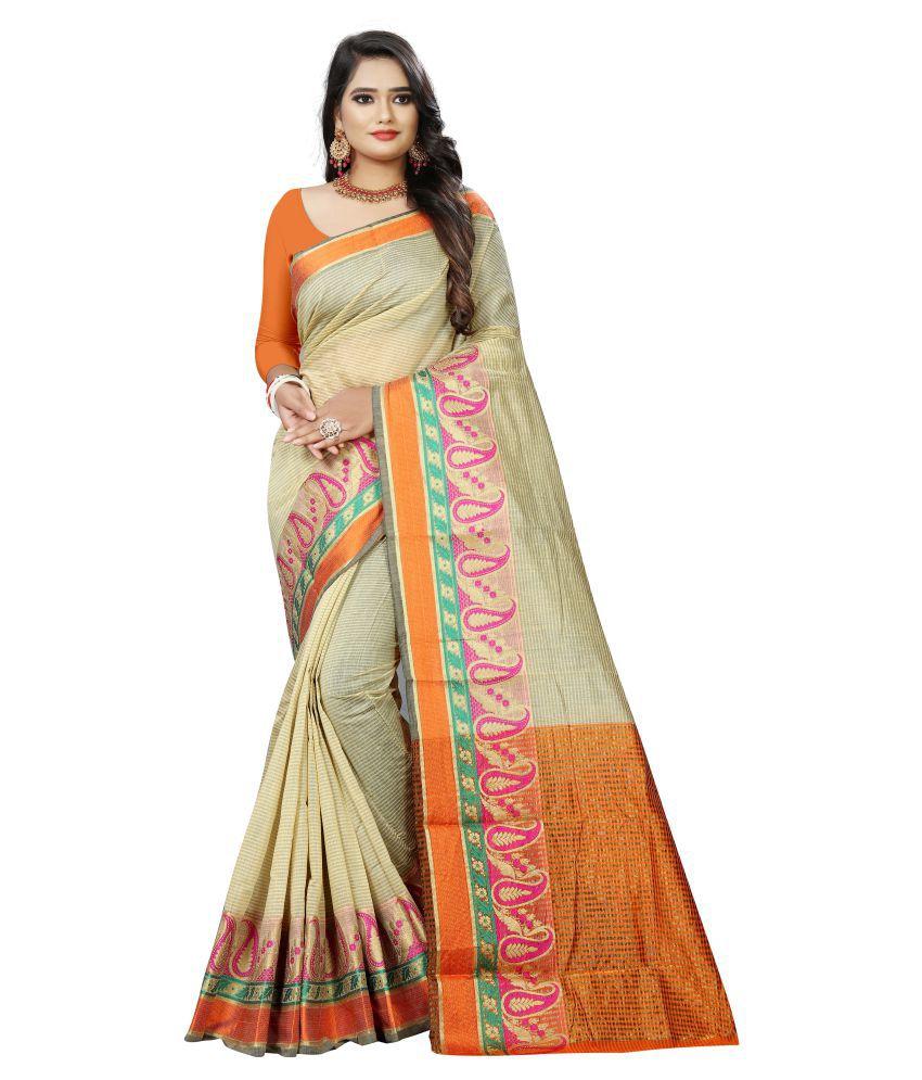 Pretty MMME Brown Chanderi Saree