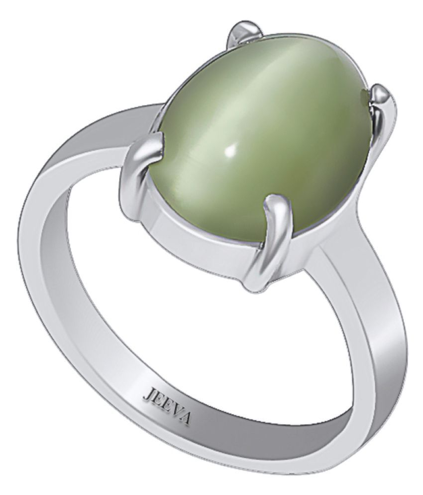 Jeeva Certified Cats Eye (Lehsuniya) 2.93 cts or 3.25ratti Bold Silver Ring for men and women