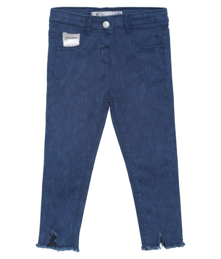 Tales and Stories Girl's Blue Lycra Solid Slim-Fit Jeans