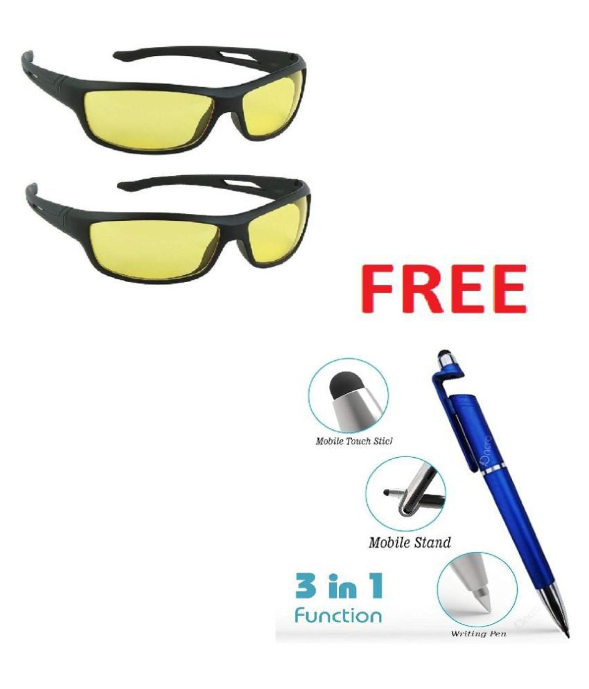 Unisex Night Vision Sunglasses aa(Yellow) with 3 in 1 pen. Pack Of 2