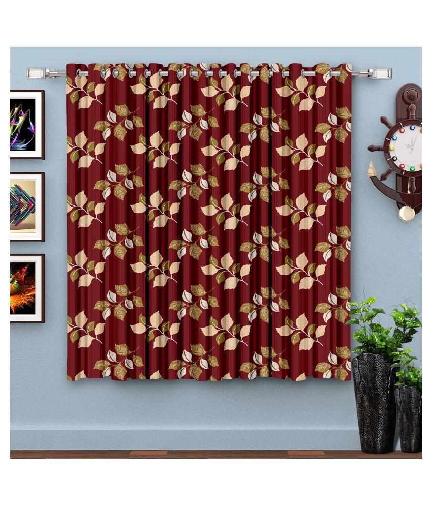 Hometique Single Window Semi-Transparent Eyelet Polyester Curtains Maroon