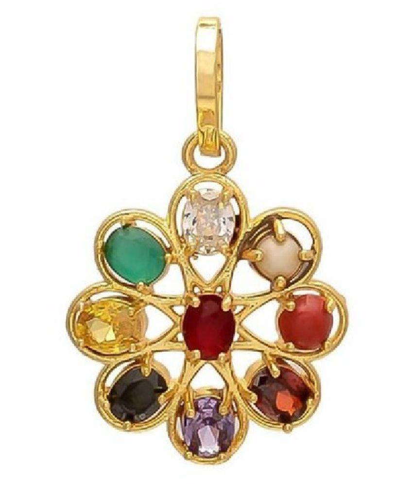 Natural Lab certified Stones Gold Plated Navratan Stones Ring  by Ratan Bazaar\n