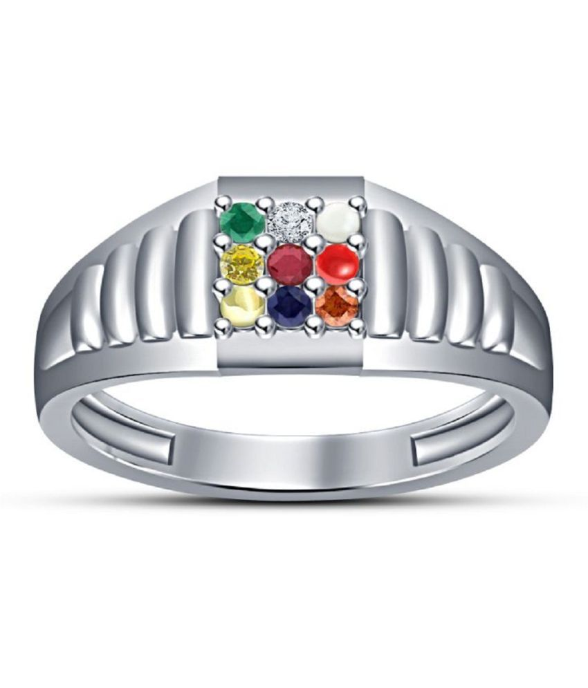 Silver Navratan StonesStones Ring    by Kundli Gems