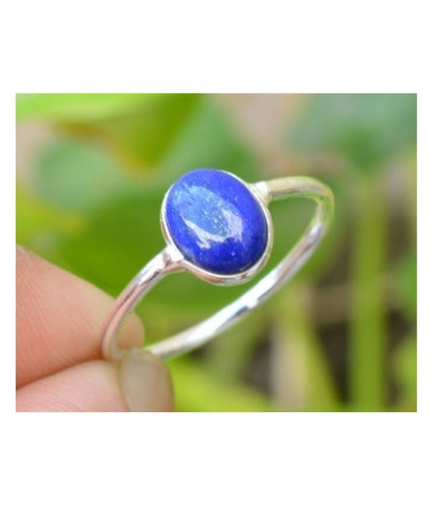5 Ratti lapis lazuli  Ring With Natural  silver Ring by Kundli Gems