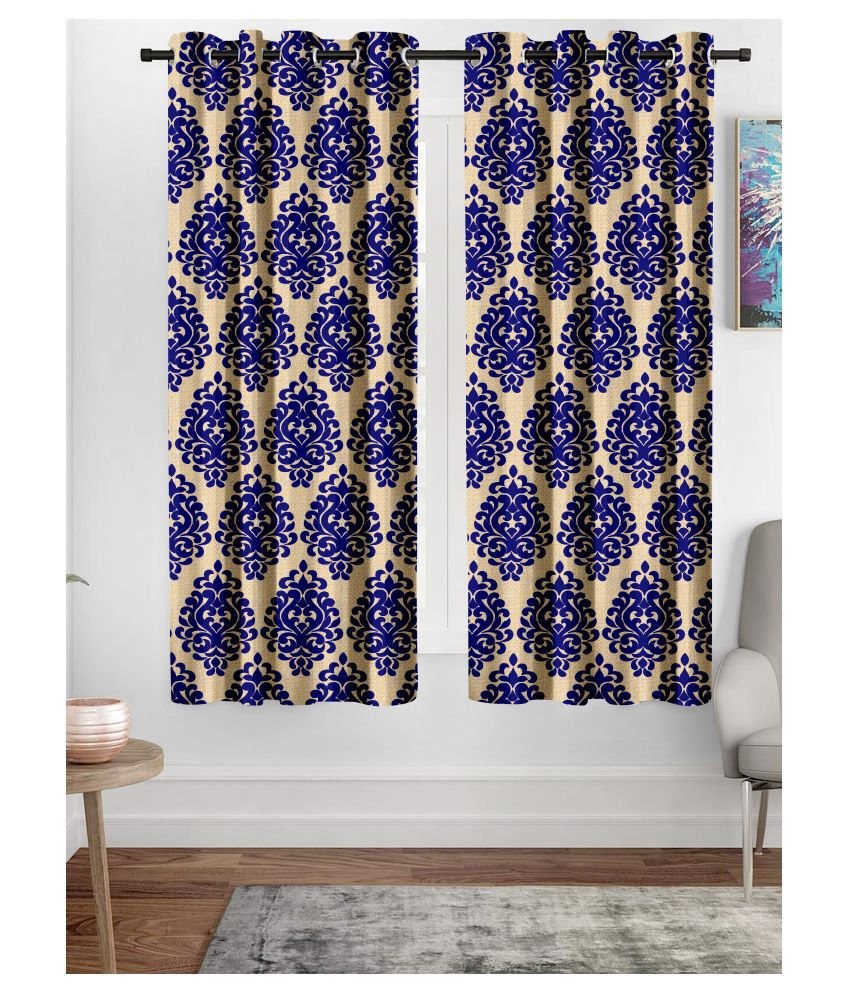 Hometique Set of 2 Window Semi-Transparent Eyelet Polyester Curtains Blue