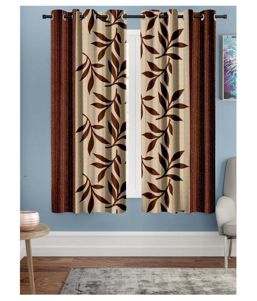 Hometique Set of 2 Window Semi-Transparent Eyelet Polyester Curtains Brown