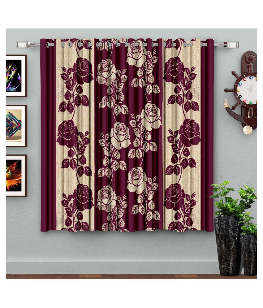 Hometique Single Window Semi-Transparent Eyelet Polyester Curtains Purple