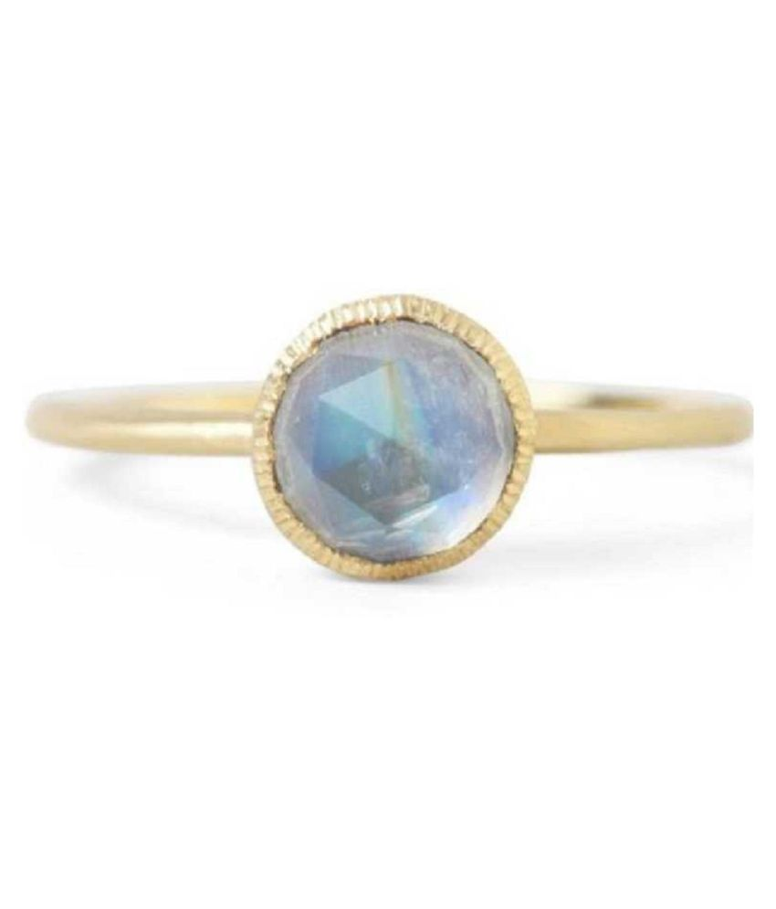 MOONSTONE Ring with 100% Original Lab Certified Stone 4.25 Ratti gold plated Ring by Ratan Bazaar