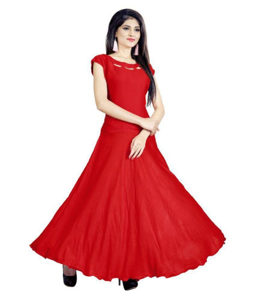 SAI TELECOM Rayon Red A- line Dress
