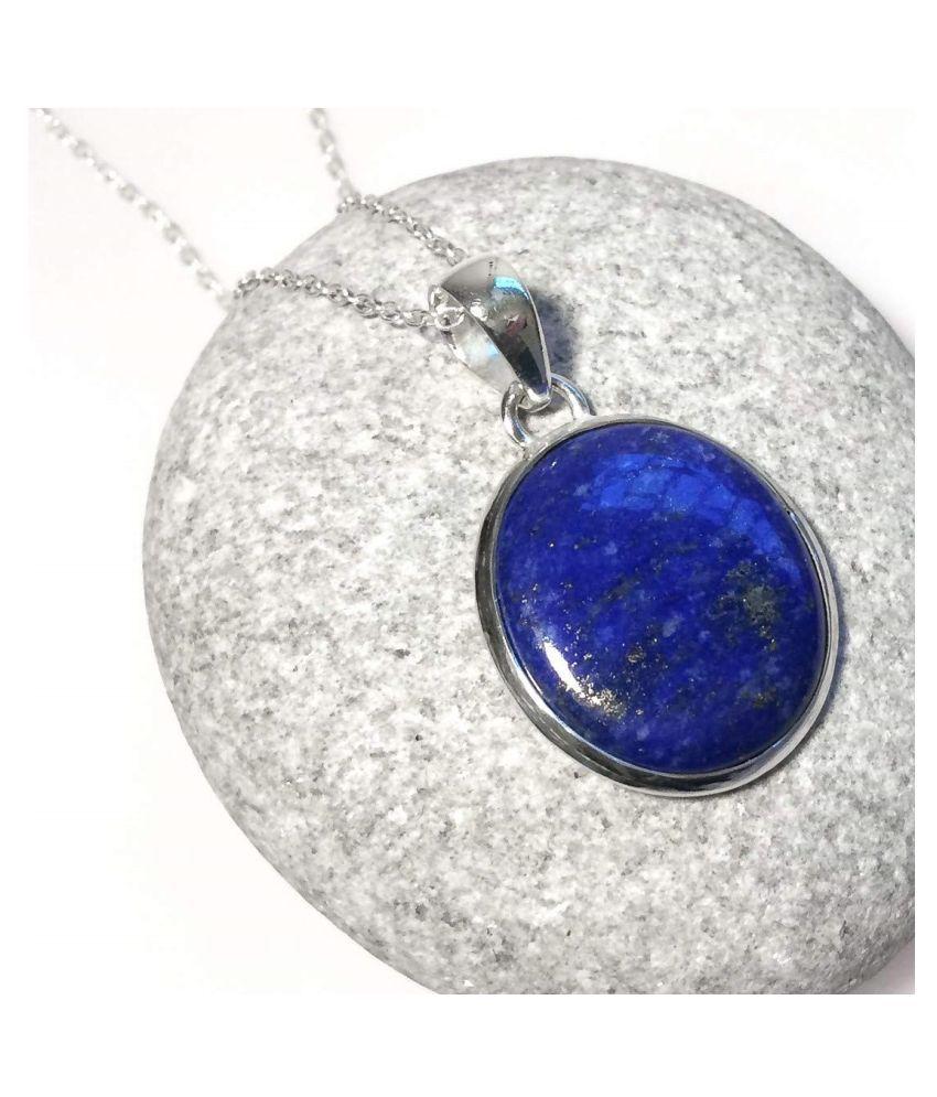 2 carat pure blue lapis lazuli  Silver Pendant by Kundli Gems \n