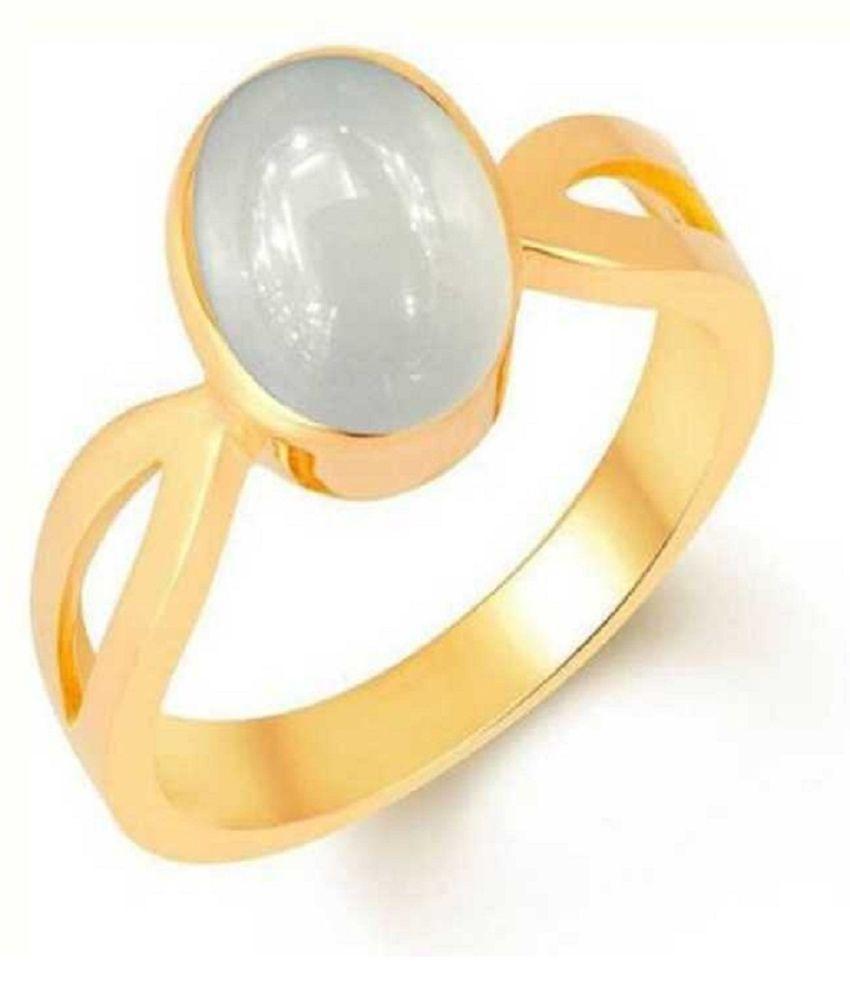 5.5 Carat Original Panchdhatu Certified MOONSTONE gold plated Ring by Ratan Bazaar