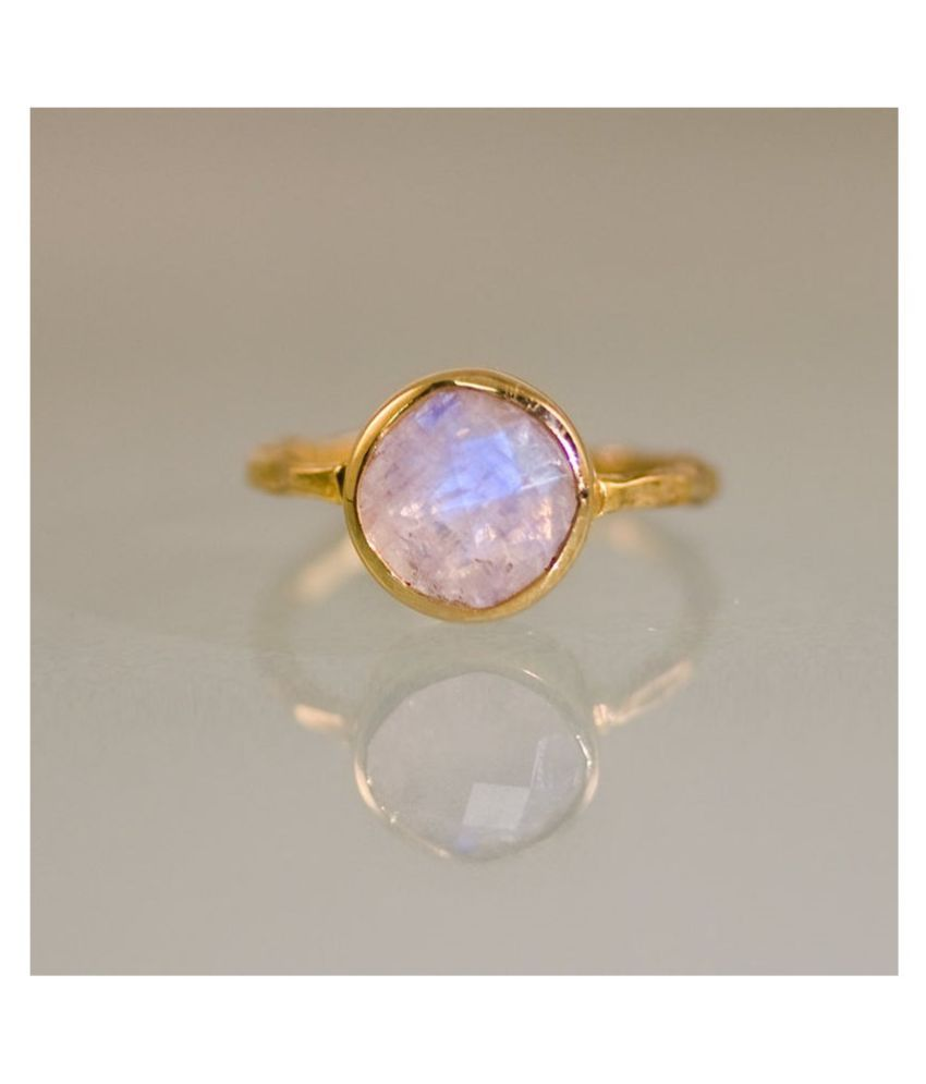 6.5 Ratti MOONSTONE Gold Plated Ring With Certified Astrological Stone by Ratan Bazaar