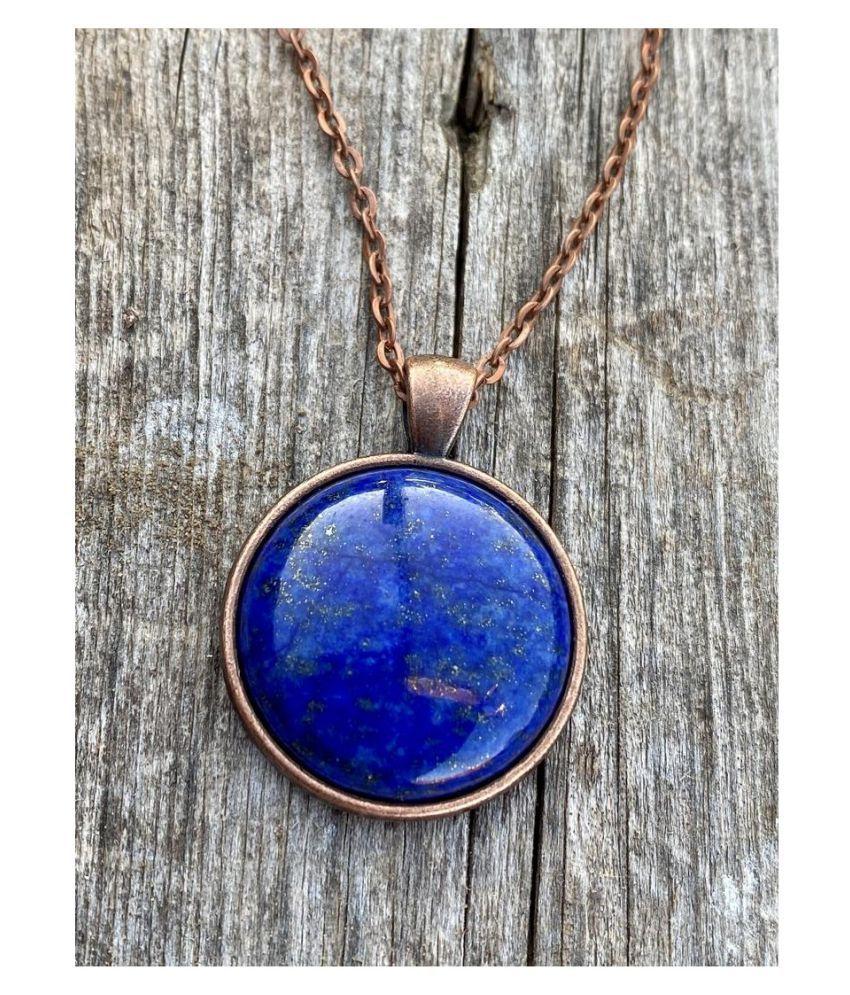 Natural Lapis lazuli Stone 2.5 Ratti 100 % Certified gold plated Pendant By Kundli Gems