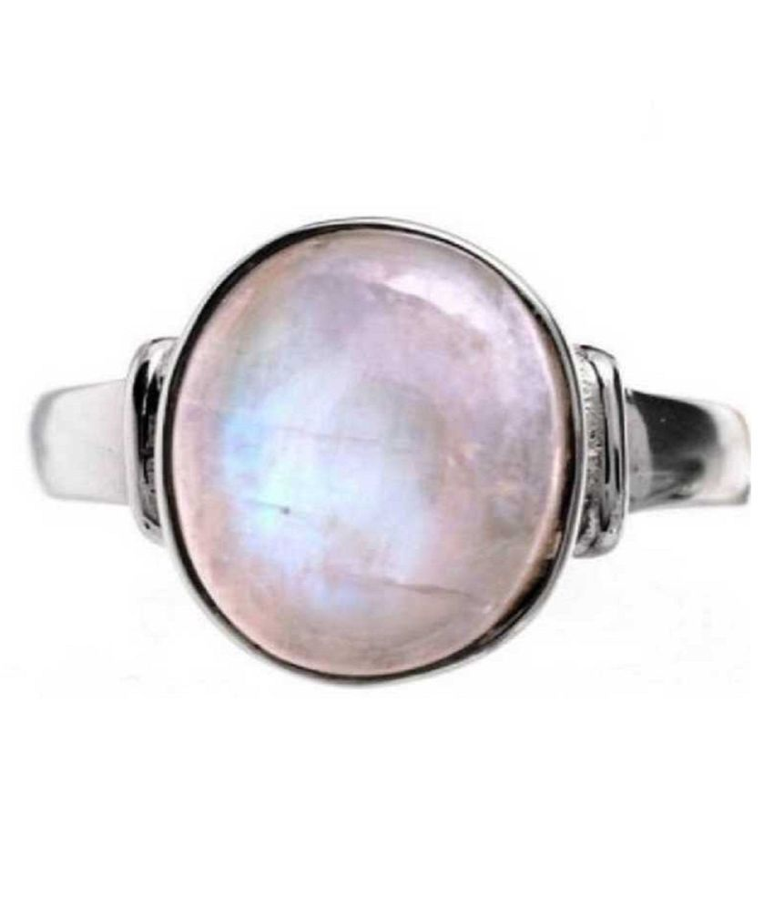 8.25 ratti Natural Lab certified Stone silver MOONSTONE  Ring by Ratan Bazaar\n