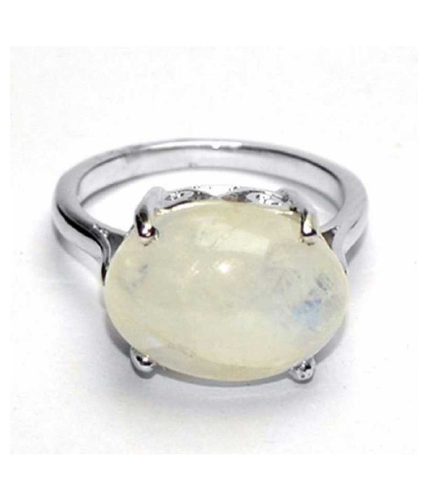 9.5 carat only MOONSTONE  Ring with Natural & Lab Certified Silver MOONSTONE  by Ratan Bazaar