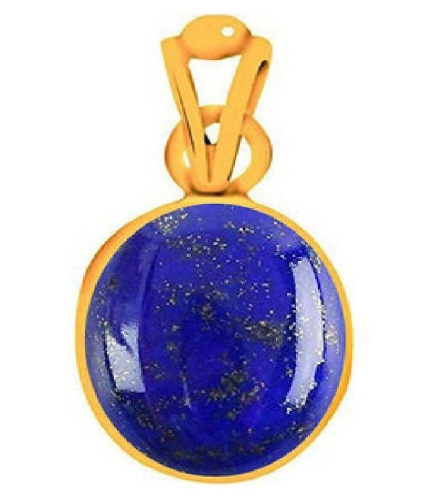 Natural & Unheated Stone 10 Ratti Lapis lazuli gold plated Pendant by Kundli Gems