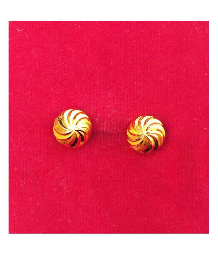 South Indian Tops Gold Plated Small Wedding Earrings Unisex Jewelry Beautiful Gift For Men,Women's