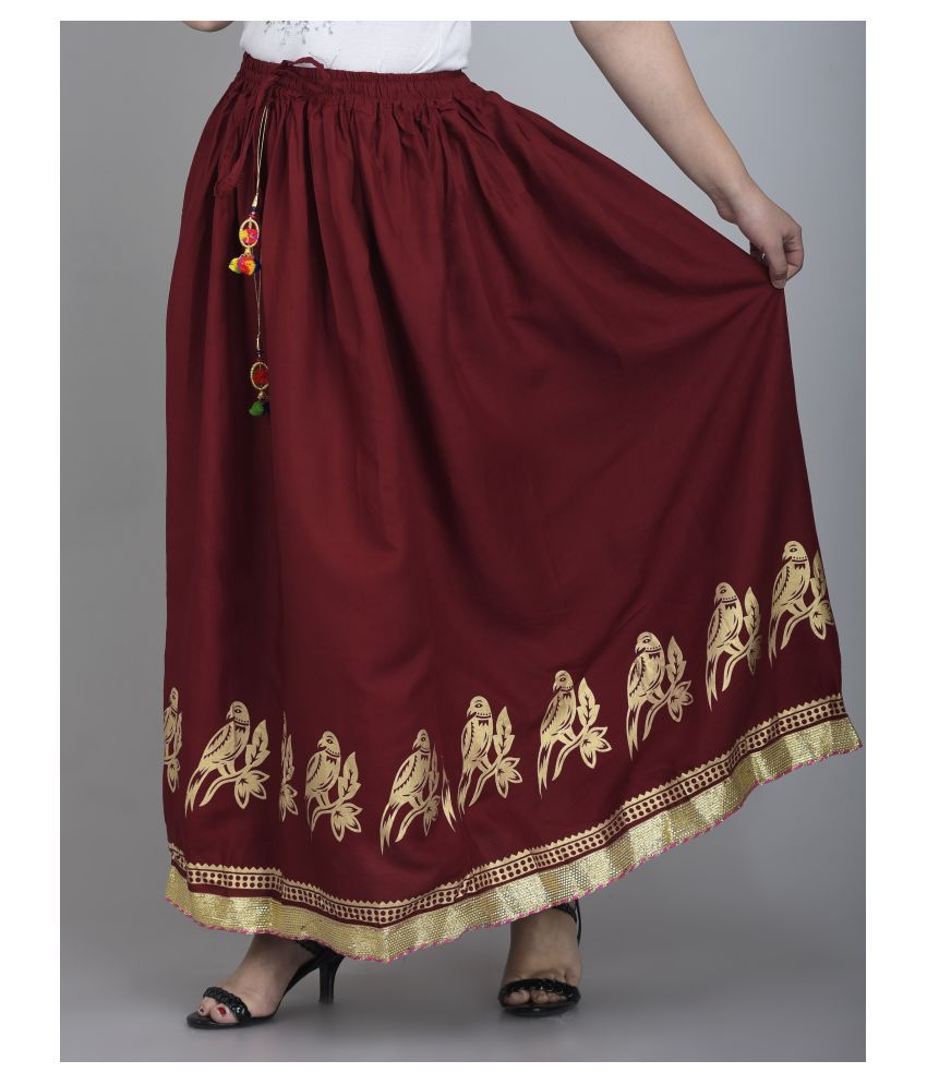 Girly Girls Rayon A-Line Skirt - Maroon