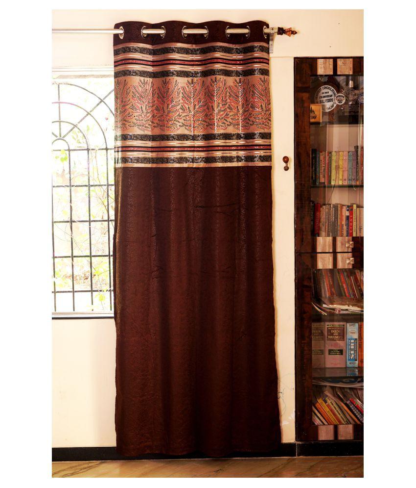 PardaOnline Single Window Blackout Room Darkening Eyelet Velvet Curtains Brown