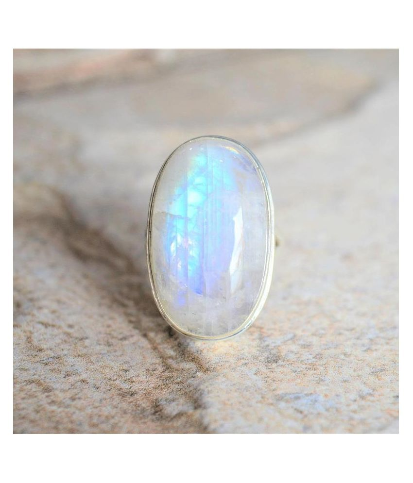 3.5 ratti Natural MOONSTONE  Stone Unheated Lab Certified pure silver Ring by Kundli Gems\n