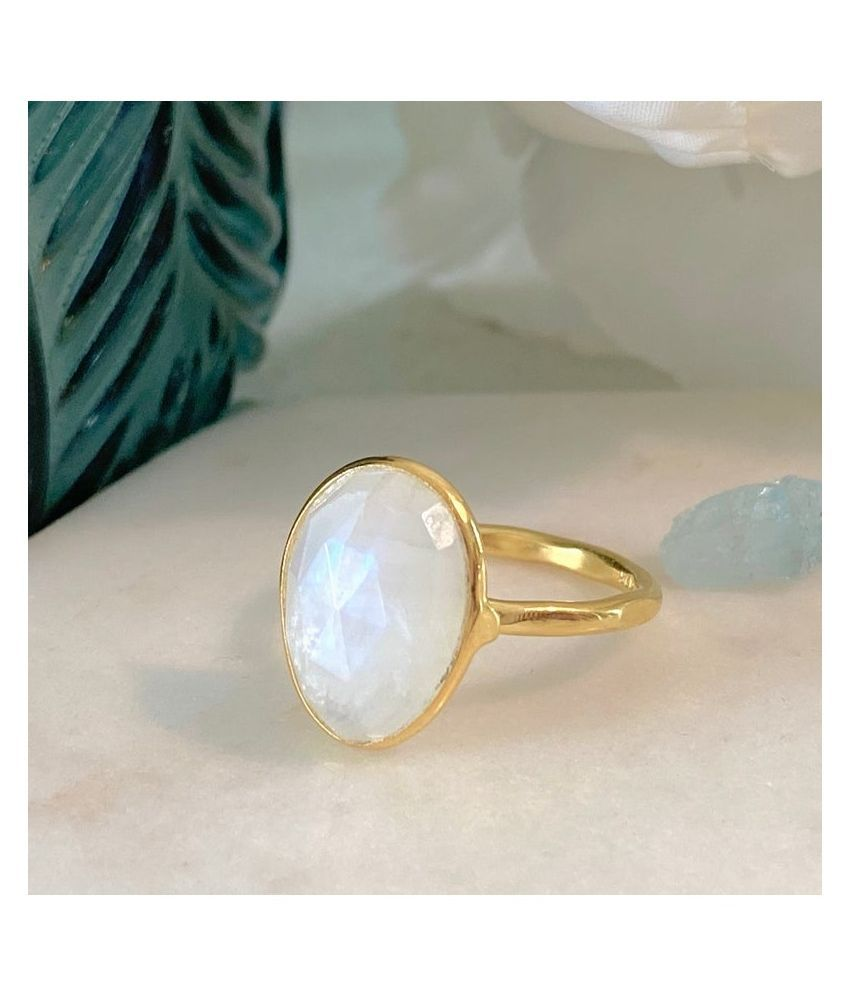 6.5 ratti stone pure MOONSTONE  Gold Plated Ring for unisex by Kundli Gems\n