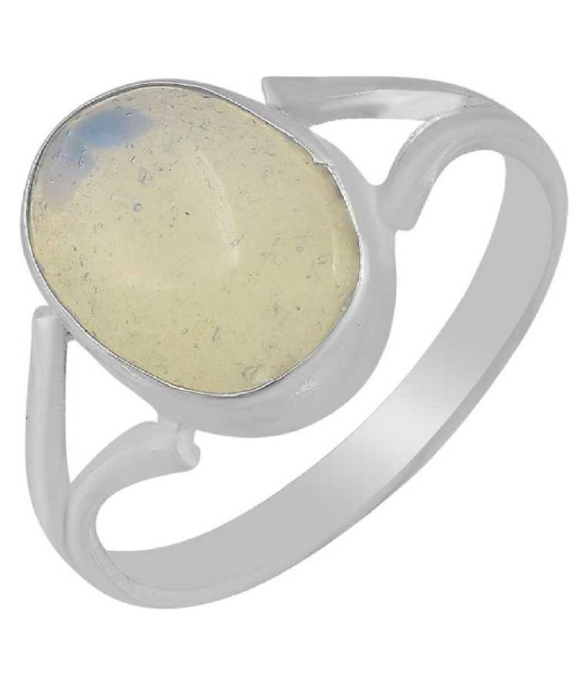 7 Ratti MOONSTONE  Ring with Natural silver MOONSTONE  Stone by Kundli Gems