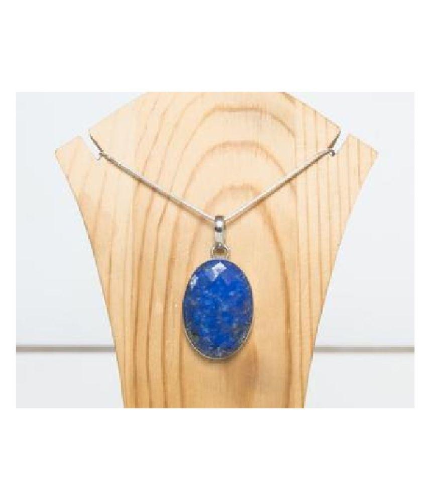 9.25 ratti stone pure lapis lazuli  silver Pendant for unisex by  Ratan Bazaar\n