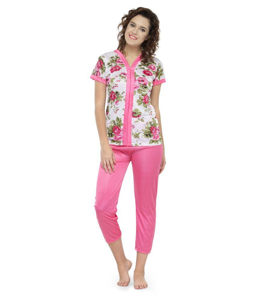 Avenew Fashions Satin Nightsuit Sets - Pink