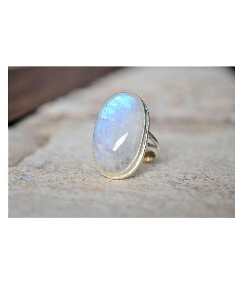 Natural MOONSTONE  5.5 Carat silver Ring  by Kundli Gems\n