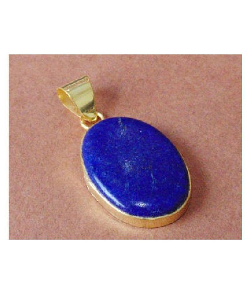 Natural and Precious Lapis lazuli Gemstone 7.5 Ratti Certified  gold plated Pendant By  Ratan Bazaar