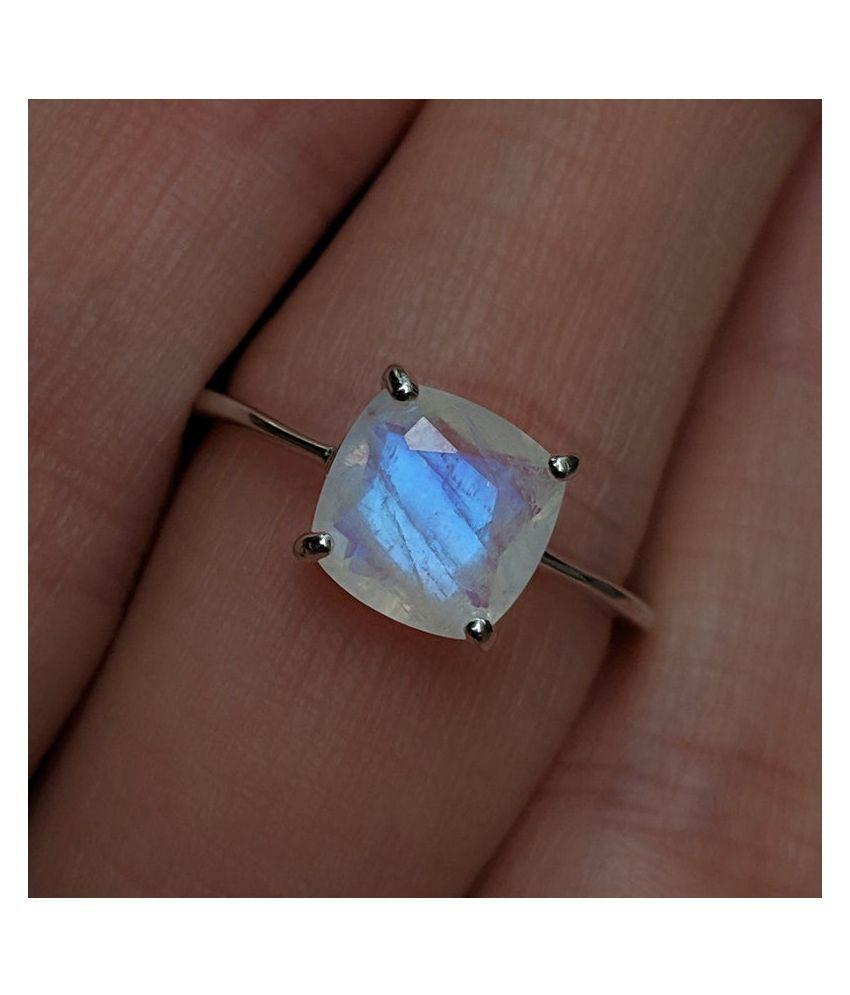 100% Natural 9 carat MOONSTONE  silver Ring for unisex by Kundli Gems\n