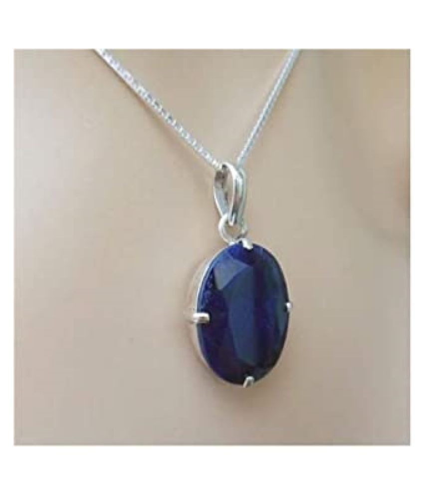 12.25 ratti Natural lapis lazuli  Stone Unheated Lab Certified pure Silver Pendant by  Ratan Bazaar\n