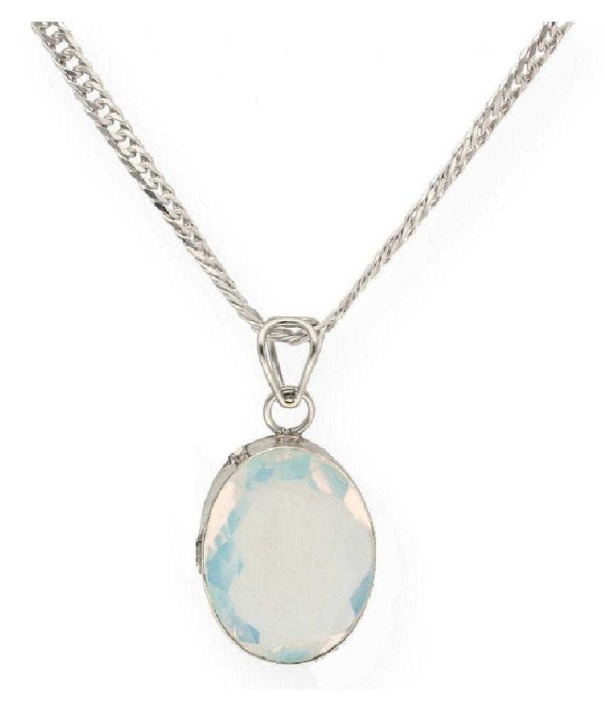 2 Ratti Lab Certified Stone 100% Original MOONSTONE  silver Pendant for unisex by Kundli Gems\n