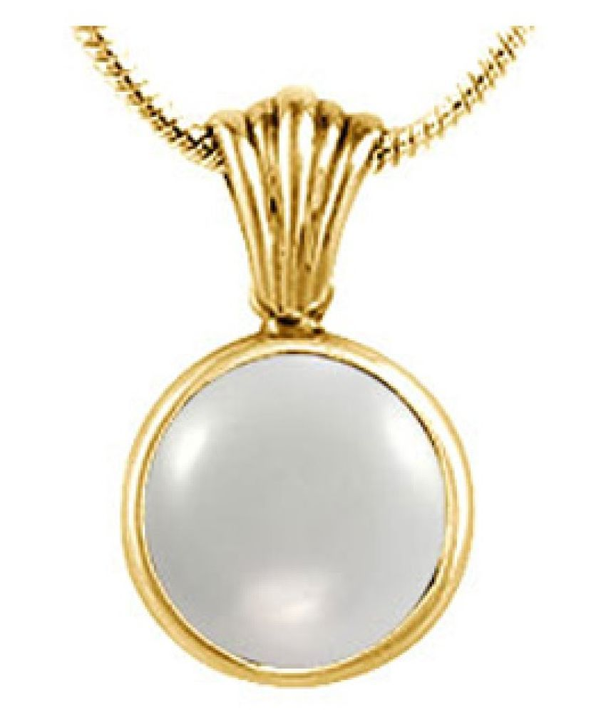 2 carat Natural Gold Plated MOONSTONE  Pendant by  Kundli Gems\n