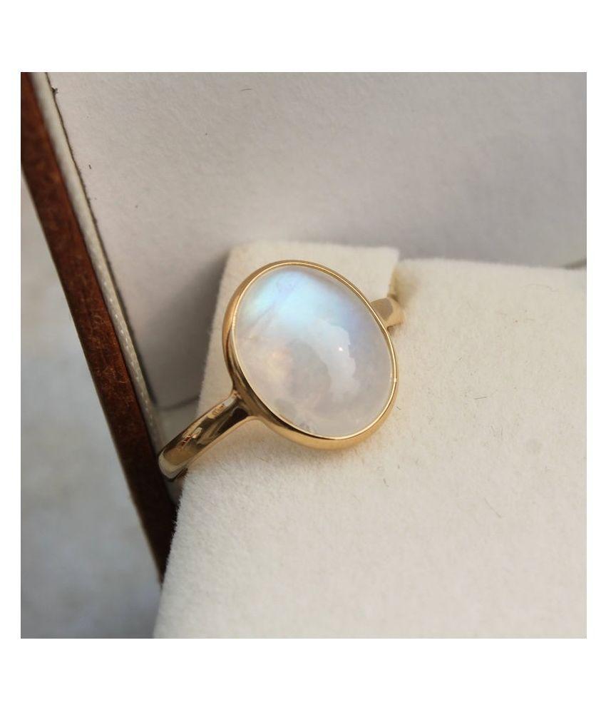 8.5 carat Natural Gold Plated MOONSTONE  Ring by  Kundli Gems\n