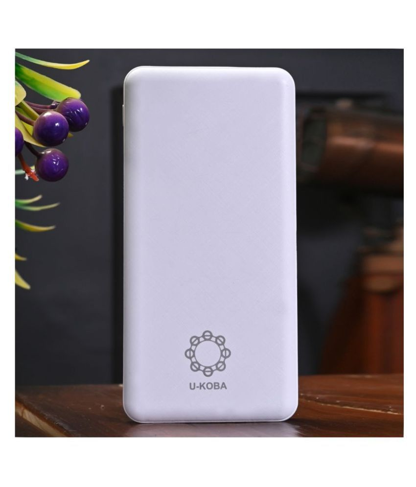 U-KOBA H20 10000 -mAh Li-Polymer Power Bank White
