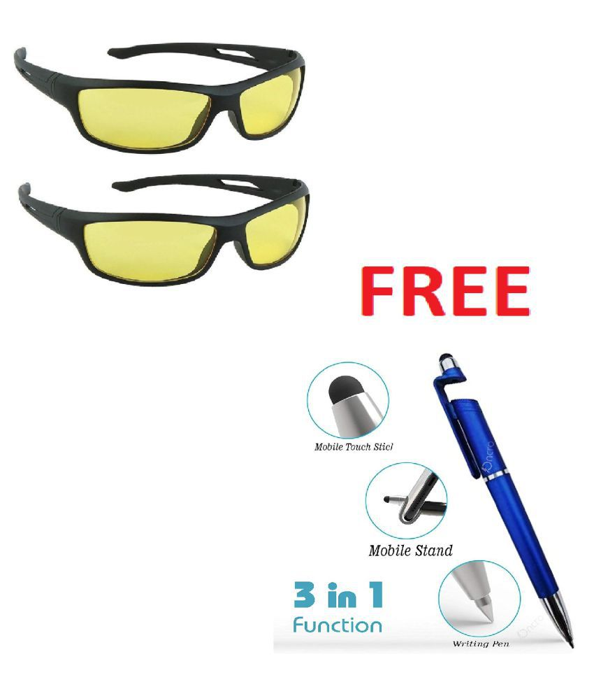 Unisex Night Vision Sunglasses t(Yellow) with 3 in 1 pen. Pack Of 2