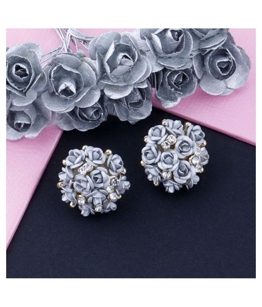 Silver Shine Fabulous Grey High Quality Floral Design Stylish Party Wear For Stud Earring For Girls And Women
