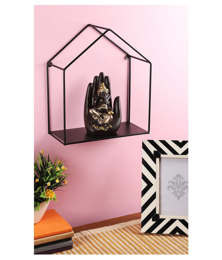 Home Sparkle Metal Iron Hut Home Pentagon Design Wall Mounted Floating Shelves Display Racks Innovative Wall Hanging Partition for Art Decor (Black)