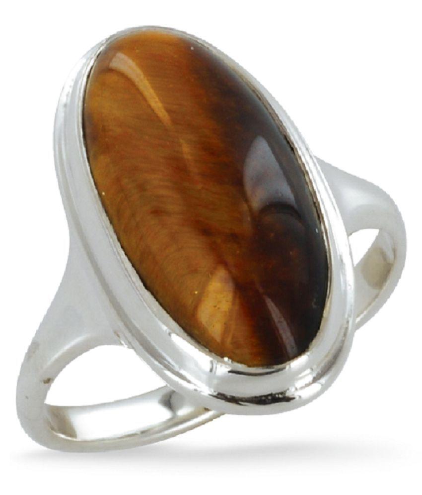 KUNDLI GEMS - 5.25 Ratti Natural Tiger Eye Silver Ring Original Certified Tiger's Eye Ring Astrological Silver Plated Ring