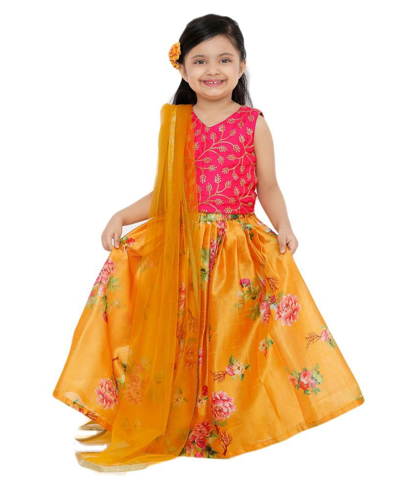 Salwar Studio Kid's Mustard Printed Silk Readymade Lehenga choli