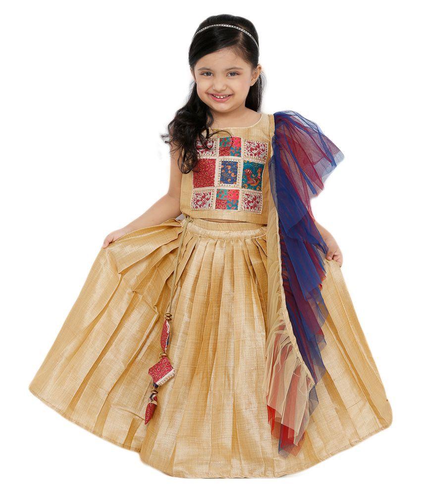 Salwar Studio Kid's Off White Art Silk Readymade Lehenga choli