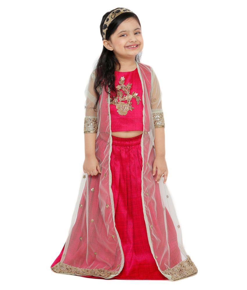 Salwar Studio Kid's Pink Art Silk Readymade Lehenga choli with net jacket