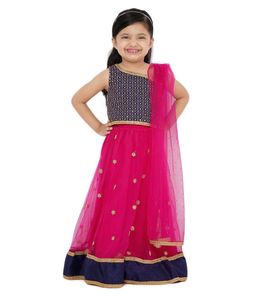 Salwar Studio Kid's Pink Net Readymade Lehenga choli