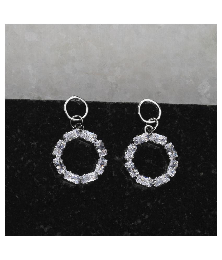 Silver Plated Fashion Diamond Stud Earring For Women Girl