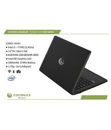 "Coconics Enabler C1314W- Windows 10 Home- Intel Corei3- 7100 U (2.4 Ghz), 14"""" TN 1366 x 768, 4 GB RAM/ 500 GB SATA HDD"