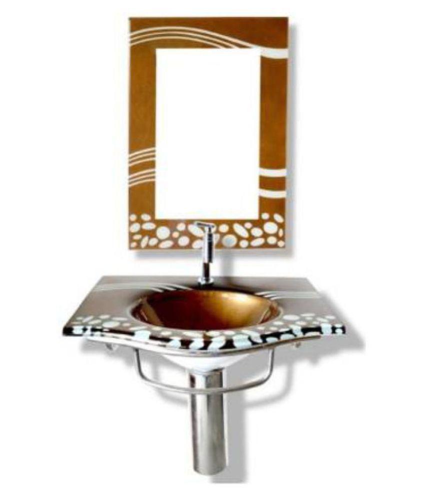 ARVIND SANITARY PVT LTD Brown Toughened Glass Wall Hung Wash Basins